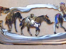 western,pack,horse,grizzly,bear,cowboy,hunting,metal,art