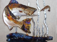 speckled,trout,gulf,fish,shrimp,bait,grand,slam,metal,art